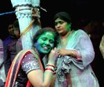 People celebrate Holi in Vrindavan