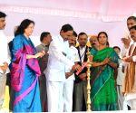 KCR at the inauguration of Mahindra & Mahindra factory