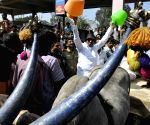 President Vatal Nagaraj protesting against release of Cauvery water