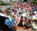 Members of various farmer organisations protest against hike in fuel prices and the Center's new farm laws in Amritsar