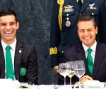 Mexico City: Mexico's national soccer team, in the Los Pinos Official Residence, in Mexico City