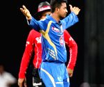 MI players celebrate fall of wicket during the match between Mumbai Indians and Chennai Super Kings
