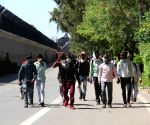 Migrant workers head home on foot on during lockdown