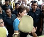 Mirzapur (UP): Priyanka Gandhi talks to the media at Chunar fort