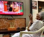 Free Photo: Modi's mother watches him perform 'bhumi pujan' on TV