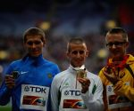 The medal ceremony for the men's 50 kilometres walk at the 2013 IAAF World Championships