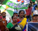 Most TMC activists without masks took part in a rally for the election campaign during the coronavirus pandemic in Kolkata  on April 14, 2021.