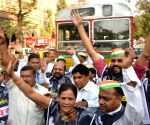 Congress protest against bus fare hike