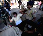 Congress workers demonstrate against profiling of Rahul Gandhi