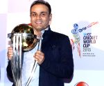 Cricketer Virender Sehwag with ICC World Cup