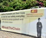 Free Photo: Mumbai 'dons' 55-ft-long face-mask on Charlie Chaplin's 132nd birth anniv