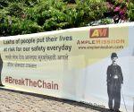 Free Photo: Mumbai 'dons' 55-ft-long face-mask on Charlie Chaplin's 132nd birth anniv
