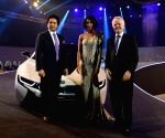 Sachin Tendulkar launches BMW i8 hybrid car. Fuel efficiency of 47.45kml