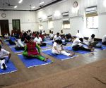Maharashtra CM during a programme organised to impart Yoga training to policemen