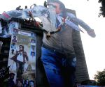 Fans give a milk bath to Rajinikanth poster