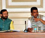 Prakash Javadekar, Devendra Fadnavis during review meeting