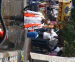 MCD employees clear out a clogged drains