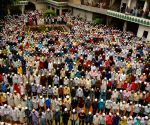 Muslims offer namaz