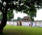 Muslims offer prayer on the occasion of Eid ul-Fitr at Feeroz Shah Kotla