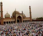 Muslims offering Eid prayer at Jama Masjid