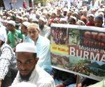 Muslim supporter's protest against Rohingya killings