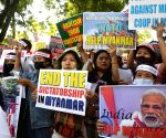 Myanmar refugees staged a protest against China's support to the new military rule in Myanmar at Jantar Mantar in New Delhi on Wednesday 03rd March, 2021
