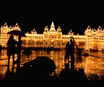 :Mysuru:Mysore Palace is lit up for the last time, as part of the Dasara 2021 celebrations