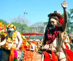 Naga sadhus during the ongoing Kumbh mela in Haridwar