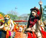 Naga sadhus during the ongoing Kumbh mela in Haridwar