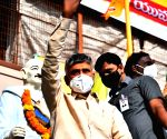 Naidu leads protest march, seeks relief for construction workers