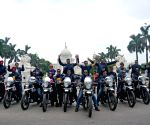 Naval bikers arrive after completing the first leg of motorcycle expedition