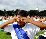 NCC cadets performing yoga on International Day of Yoga