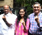 NCP president Sharad Pawar with his family after casting their vote