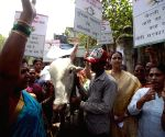 NCP women activists protesting against Arun Jaitley