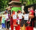 Nepali nationals living in India protest outside Embassy of Nepal
