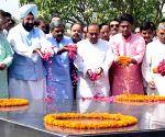BJP workers pays tribute at the Samadhi of Mahatma Gandhi