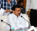 Arvind Kejriwal during a meeting at NDMC
