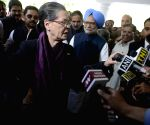 Sonia Gandhi talks to press