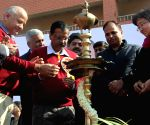 Kejriwal, Sisodia seek votes for AAP after laying foundation stone for 11,000 classrooms