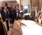 New Delhi : External Affairs Minister signs the condolence book for Saudi Arabia's King Abdullah