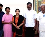 Sushma Swaraj welcomes back Father Alexis Premkumar Antonysamy