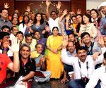 Sushma Swaraj with devotees embarking on Kailash Manasarovar Yatra