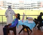 Health worker collect swab sample of DDCA Women Cricket Team at Arun Jaitly Stadium (Ferozshah Kotla) in New Delhi