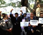 New delhi:  Members of Delhi police Mahasangh staged a silent Protest against farmers rampage