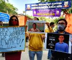 : New Delhi : NCB officer Sameer Wakhade and Sushant Singh Rajput supporters outside the NCB office in New Delhi