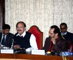 Venkaiah Naidu and Mukhtar Abbas Naqvi during a press conference