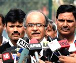 Prashant Bhushan talks to press