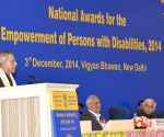 Pranab Mukherjee at the presentation ceremony of National Awards for the Empowerment of Persons with Disabilities 2014
