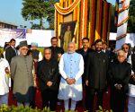 Pranab Mukherjee offering tributes at the statue of Baba Saheb Dr. BR Ambedkar of his 'Mahaparinirvan Diwas