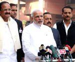 PM Modi addresses press at Parliament premises